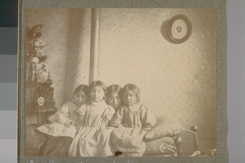 Girls in Chinese M.E. [Methodist Episcopal] Mission. [Left to right] Siu, Sau, Oi, Ho