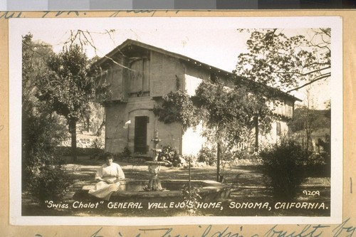 "This is a brick building built by Gen. M.G. Vallejo in front of his old home at Sanoma [Sonoma], Calif. in 1850. July 1928, used as a store & warehouse by him ""Swiss Chalet."""