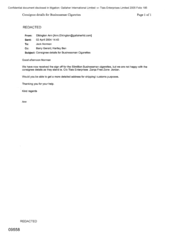 [Email from Elkinton Ann to Norman Jack regarding Consignee Details for Businessman Cigarettes]