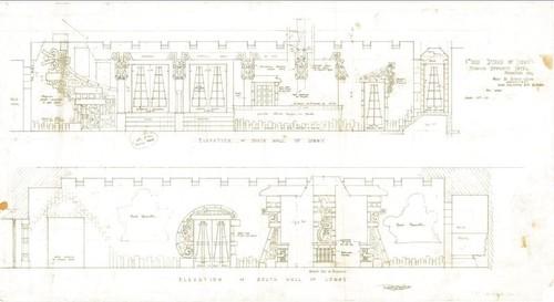 Calisphere: Aztec Hotel: Lobby elevation drawings