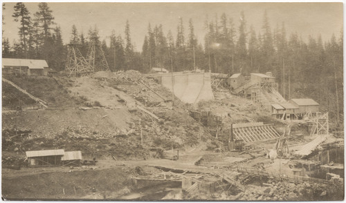 [Construction of Big Meadows Dam, Plumas County] (2 views)