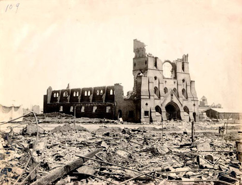 [St. Catherine's Cathedral, at Eleventh and Market Streets, after the 1906 earthquake]
