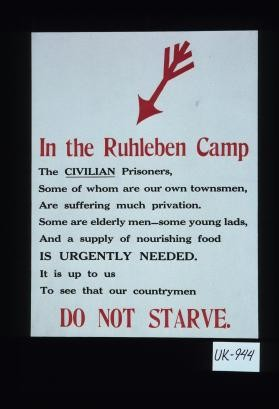 In the Ruhleben Camp, the civilian prisoners, some of whom are our own townsmen, are suffering much privation. Some are elderly men, some young lads, and a supply of nourishing food is urgently needed. It is up to us to see that our countrymen do not starve