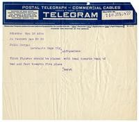 Telegram from William Randolph Hearst to Julia Morgan, January 28, 1922