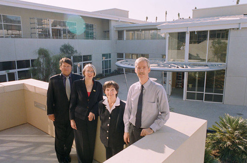 City Librarian Greg Mullen with Principal Librarians Nancy O'Neill, Susan Annett, and Migell Acosta at the new Main Library which opened at 601 Santa Monica Blvd., January 7, 2006