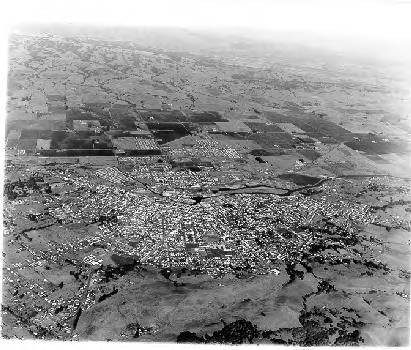 High altitude view of Petaluma, California, 1960