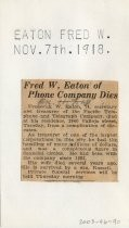 Fred W. Eaton of Phone Company Dies