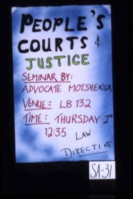 People's courts & justice. Seminar by Advocate Motshekga