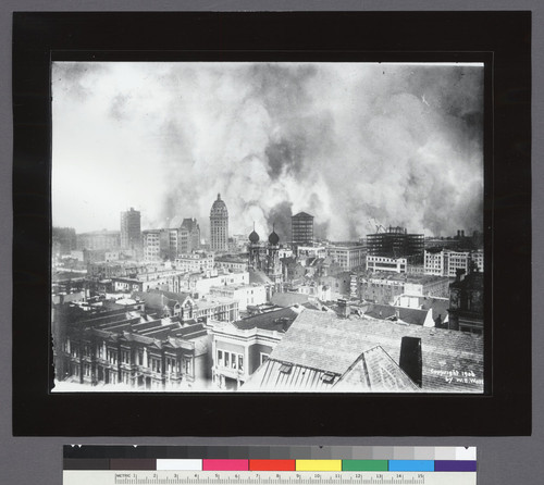 [Cityscape from Nob Hill looking southeast during fire. Call Building, left center; Temple Emanu-el, center.]