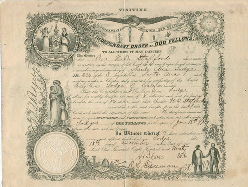 Independent Order of Odd Fellows certificate from the Santa Ana Lodge No. 236