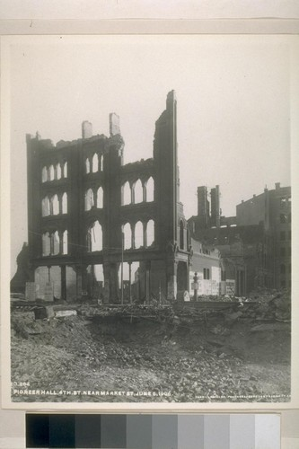 Ruins of the Society of California Pioneers Building [Pioneer Hall]. Fourth near Market. At the right is the back of the Emporium. June 5, 1906. [Photograph by Turrill & Miller.]