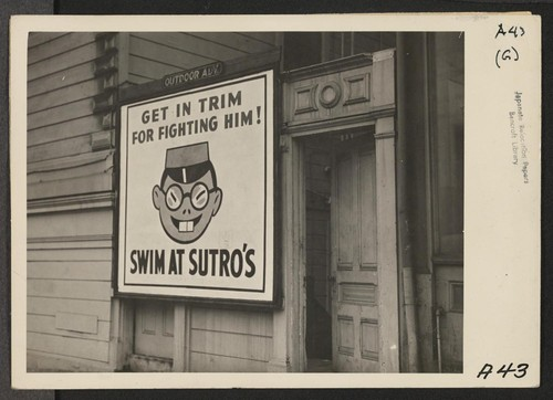 As evacuation of residents of Japanese ancestry progressed in April 1942, this sign (above), advertising a swimming pool, was posted in many San Francisco districts. Evacuees will be housed in War Relocation Authority centers for the duration. Photographer: Lange, Dorothea San Francisco, California
