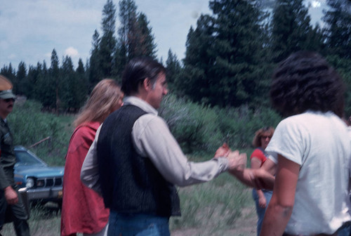 Jerry Brown shaking hands with people at the Janesville Bear Dance--1977