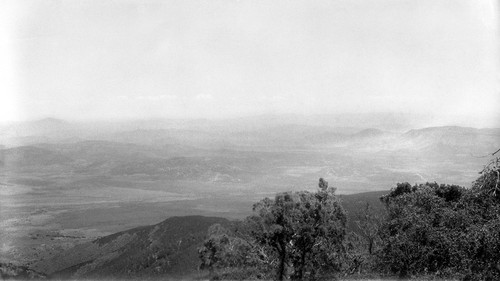 "South of San Vicente, from ""red-face"" on mountain on west side of San Vicente Valley, looking toward the Sierra San Pedro Mártir with cypress in the foreground"