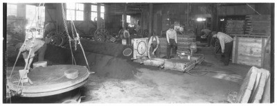 Factories - Stockton: Views of men working in factories, [steel manufacturing/ foundry]
