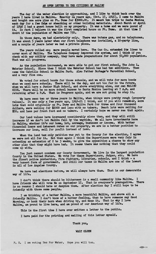 An open letter to the citizens of Malibu urging them to vote for the Los Angeles County Waterworks District no. 29 on September 15, 1959, written by Walter Olsen