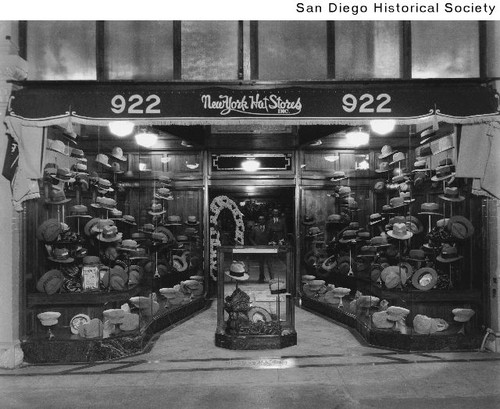 Calisphere  New York Hat Stores storefront displaying a large number ... a6bb332bf2f