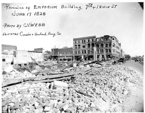 Remains of Emporium Building at 7th and Irwin in Hanford