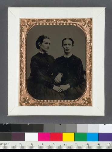 [Margaret J. Dobie and a woman friend before her marriage to George M. Benedict.]