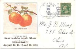 Gravenstein Apple Show advertisement postcard for the 1910 show