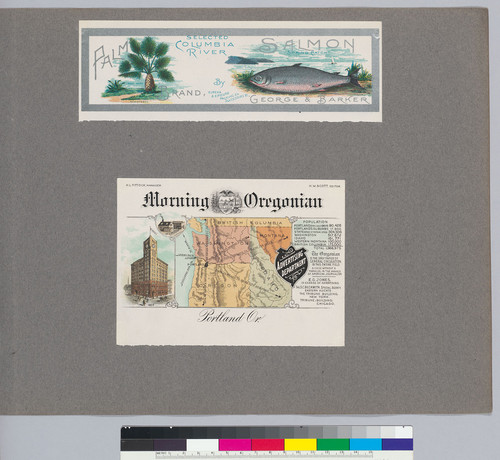 Album page with Morning Oregonian advertisement and Palm Brand Selected Columbia River Salmon label