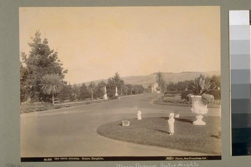 The main avenue. Sutro Heights [San Francisco]. 6150. [Photograph by Taber.]
