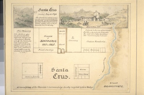 Santa Cruz [ground plan; sketch of mission in 1825]. Ground plan of the mission & surroundings kindly supplied by Genl. Vallejo