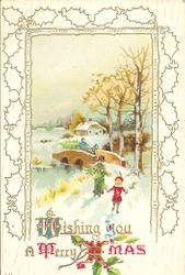 Christmas message with scene of winter country with cabin in rear