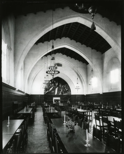 Empty dining hall tables, Pomona College