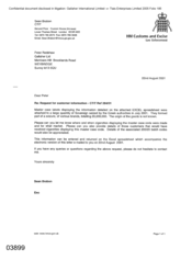 [Letter from Sean Brabon to Peter Redshaw regarding a request for customer information]