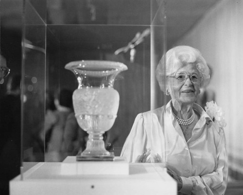 Dorothy Leavey with glass vase