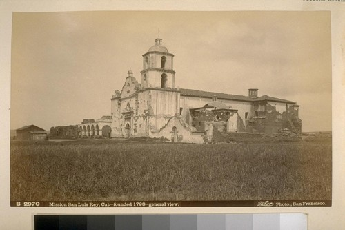 B2970, Mission San Luis Rey, Cal.--founded 1798--general view. Taber Photo, San Francisco