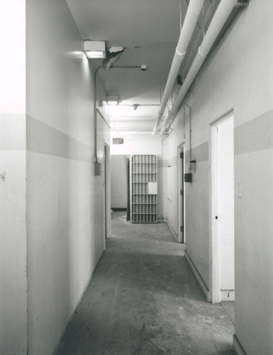 Interior of the Santa Monica City Hall Jail Wing designed by architects Joseph M. Estep and Donald B. Parkinson built with PWA funds in 1938-1939