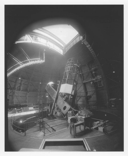 The 100-inch telescope inside its dome, Mount Wilson Observatory