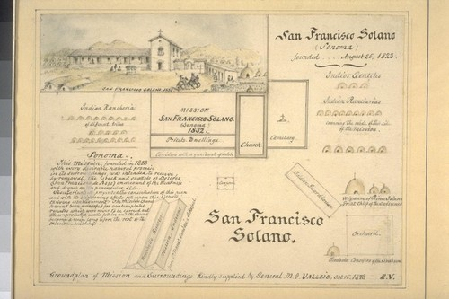 San Francisco Solano. Groundplan of mission and surroundings. Kindly supplied by General M.G. Vallejo Oct. 15, 1878. Sketch of mission in upper left corner titled: San Francisco Solano, 1832