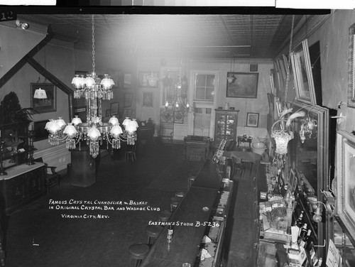 Famous Crystal Chandelier & Basket in Original Crystal Bar and Washoe Club Virginia City, Nev