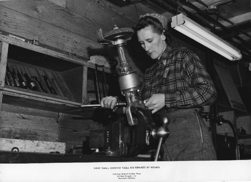 Many small machine tools are repaired by women [portrait of a Kaiser worker, ca. 1945]