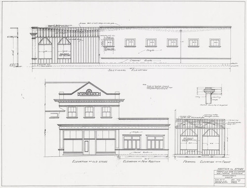 Addition To Store Front and Side Elevation also Framing Elevations Hammond Lumber Co. Eureka Cal