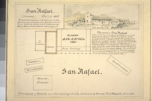 San Rafael. Ground plan of mission and surroundings. Kindly furnished by General M.G. Vallejo Oct. 15, 1878. [Sketch of Mission in upper right, titled San Rafael, 1831.]