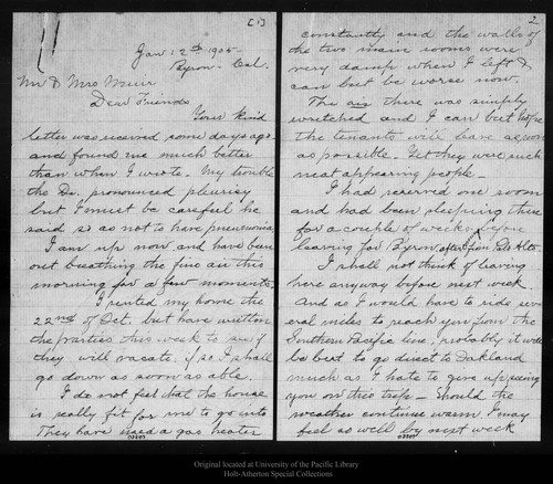 Calisphere letter from emily o wilson to john muir and louie muir letter from emily o wilson to john muir and louie muir 1905 thecheapjerseys