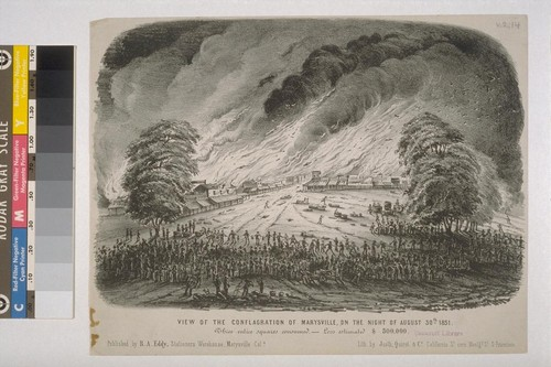 View Of The Conflagration Of Marysville, On The Night Of August 30th - 1851