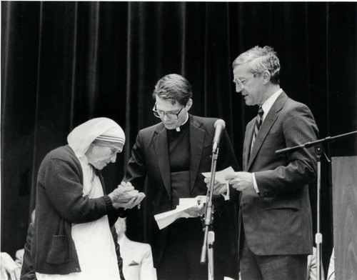 William J. Rewak, S.J. and Edward A. Panelli with Mother Theresa