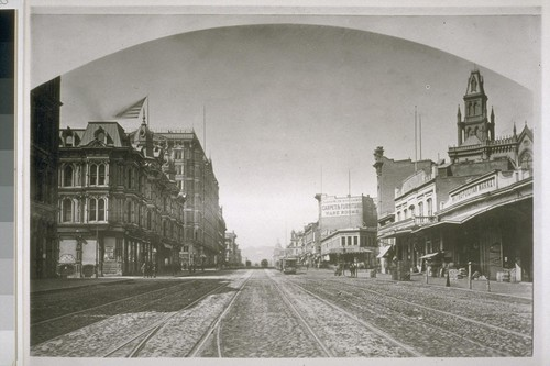 Market Street looking west from Sansome. Grand and Palace Hotel on left; Masonic Temple tower on right. Ca. 1878