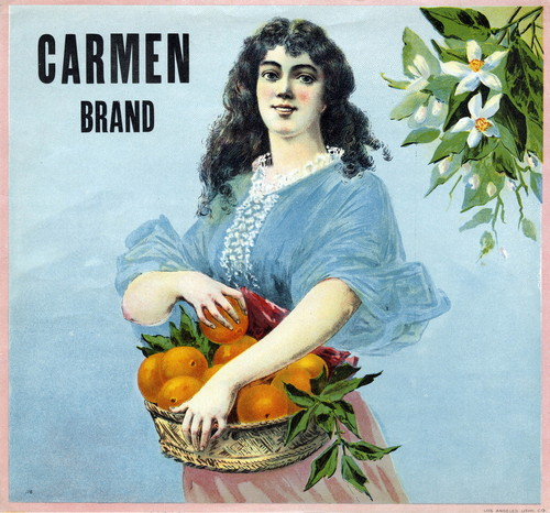 "Crate label, ""Carmen Brand."""
