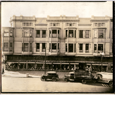 Southwest corner of 12th Street and Broadway, circa 1933. The Blake Block in view