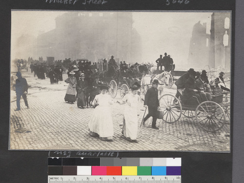 Market Street. [Refugees fleeing en masse toward Ferry Building.]