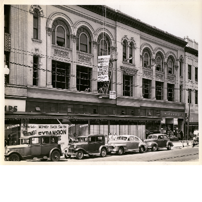 M. K. Blake Estate Co. building (the Blake Block), southwest corner of 12th Street and Broadway in downtown Oakland, California. W. F. Woolworth, Money Back Smith in view