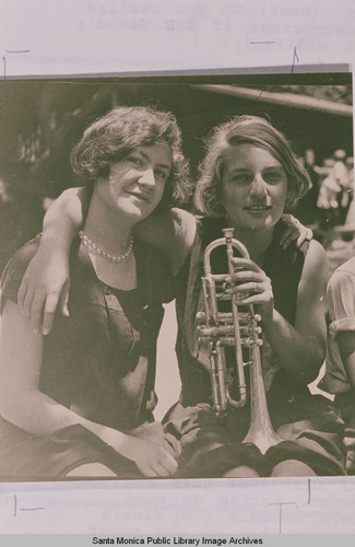 Two young women and a trumpet, Temescal Canyon, Pacific Palisades, Calif