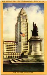 City Hall and the Stephen M. White Statue, Los Angeles, California