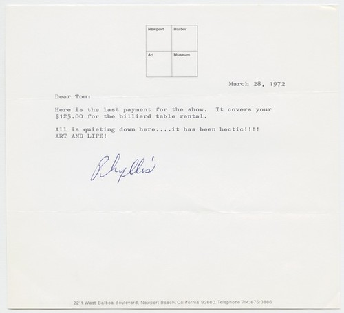 Letter to Tom Marioni from Phyllis J. Lutjeans (The San Francisco Performance)